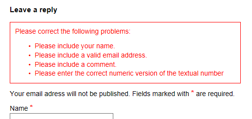 Error list displayed inline in between the form title and the first field